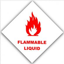 1 x Red on White Flammable Liquid-External Self Adhesive Warning Stickers-Bottle Logo-Health and Safety Sign